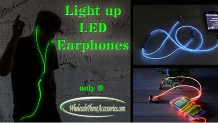 2015 Latest LED Light up Earphones for Mobile CellPhone
